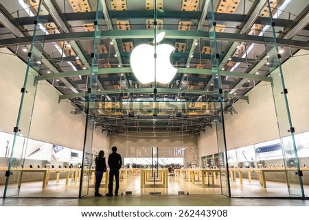 LOS ANGELES - 21 MARCH 2015: Apple store on 3rd Street Promenade in Santa Monica CA United States. The retail chain owned and operated by Apple Inc is dealing with computers and electronics worldwide. - stock photo