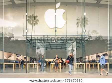 LOS ANGELES - 19 MARCH 2015: Apple store on 3rd Street Promenade in Santa Monica CA United States. The retail chain owned and operated by Apple Inc is dealing with computers and electronics worldwide - stock photo