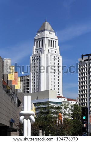 LOS ANGELES - MARCH 17: Los Angeles City Hall located in downtown Los Angeles, California on March 17, 2014. Los Angeles City Hall is the center of the government of the city of Los Angeles. - stock photo