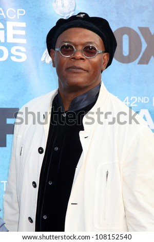 LOS ANGELES - MARCH 4: Samuel L. Jackson arriving at the 42nd NAACP Image Awards at Shrine Auditorium on March 4, 2011 in Los Angeles, CA - stock photo