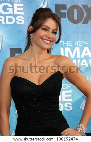 LOS ANGELES -   MARCH 4: Sofia Vergara arriving at the 42nd NAACP Image Awards at Shrine Auditorium on March 4, 2011 in Los Angeles, CA - stock photo
