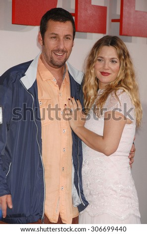 LOS ANGELES - MAY 21:  Adam Sandler and Drew Barrymore  arrives at the Blended LOS ANGELES Premiere  on May 21, 2014 in Hollywood, CA                 - stock photo