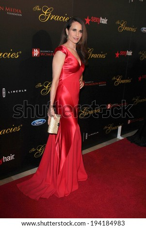 LOS ANGELES - MAY 20:  Andie MacDowell at the 39th Annual Gracie Awards at Beverly Hilton Hotel on May 20, 2014 in Beverly Hills, CA