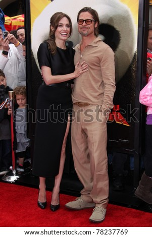 """LOS ANGELES - MAY 22:  Angelina Jolie, Brad Pitt arriving at the """"Kung Fu Panda 2"""" Los Angeles Premiere at Grauman's Chinese Theatre on May 22, 2011 in Los Angeles, CA - stock photo"""