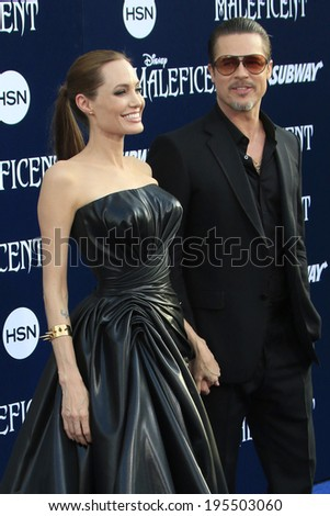 """LOS ANGELES - MAY 28:  Angelina Jolie, Brad Pitt at the """"Maleficent"""" World Premiere at El Capitan Theater on May 28, 2014 in Los Angeles, CA - stock photo"""