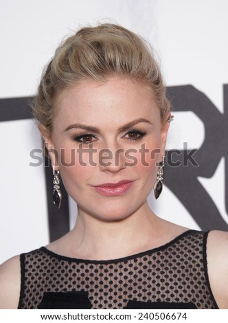 """LOS ANGELES - MAY 30:  ANNA PAQUIN arrives to """"True Blood"""" Season 5 Premiere  on May 30, 2012 in Hollywood, CA                 - stock photo"""