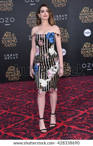 "LOS ANGELES - MAY 23:  Anne Hathaway arrives to the ""Alice Through The Looking Glass"" American Premiere  on May 23, 2016 in Hollywood, CA.                 - stock photo"