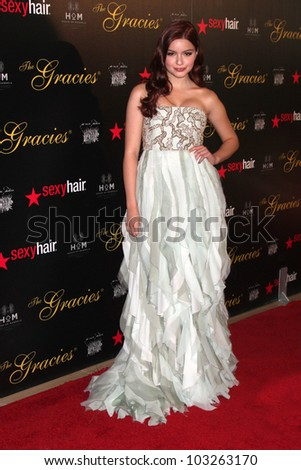 LOS ANGELES - MAY 22:  Ariel Winter arrives at the 37th Annual Gracie Awards Gala at Beverly Hilton Hotel on May 22, 2012 in Beverly Hllls, CA - stock photo