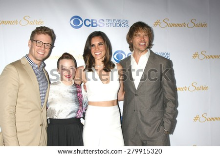 LOS ANGELES - MAY 18:  Barrett Foa, Renee Felice Smith, Daniela Ruah, Eric Christian Olsen at the CBS Summer Soiree 2015 at the London Hotel on May 18, 2015 in West Hollywood, CA - stock photo