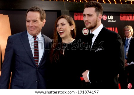 "LOS ANGELES - MAY 8:  Bryan Cranston, Elizabeth Olsen, Aaron Taylor-Johnson at the ""Godzilla"" Premiere at Dolby Theater on May 8, 2014 in Los Angeles, CA"