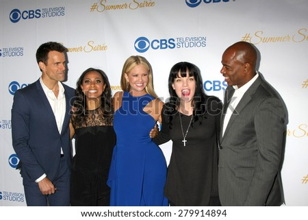 LOS ANGELES - MAY 18:  Cameron Mathison, Nischelle Turner, Nancy O'Dell, Pauley Perrette, Kevin Frazier at the CBS Summer Soiree 2015 at the London Hotel on May 18, 2015 in West Hollywood, CA - stock photo