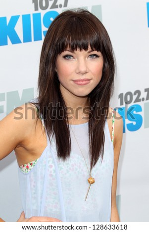 "LOS ANGELES - MAY 12:  Carly Rae Jepsen  arrives at the ""Wango Tango"" Concert at The Home Depot Center on May 12, 2012 in Carson, CA - stock photo"
