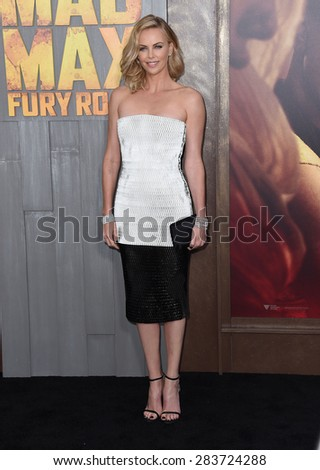 """LOS ANGELES - MAY 07:  Charlize Theron arrives to the """"Mad Max: Fury Road"""" Los Angeles Premiere  on May 7, 2015 in Hollywood, CA                 - stock photo"""