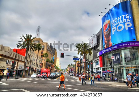 LOS ANGELES - MAY 14, 2016: Colorful HDR image of Hollywood Boulevard. In 1958, the Hollywood Walk of Fame was created on this street as a tribute to artists working in the entertainment industry.