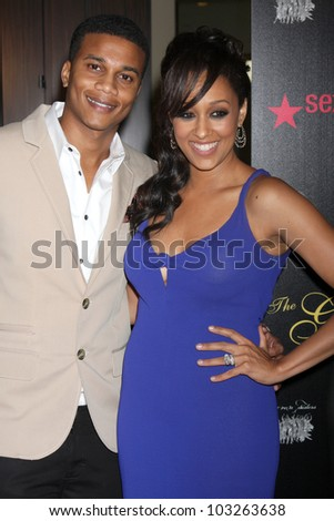 LOS ANGELES - MAY 22:  Cory Hardrict, Tia Mowry-Hardrict arrives at the 37th Annual Gracie Awards Gala at Beverly Hilton Hotel on May 22, 2012 in Beverly Hllls, CA - stock photo