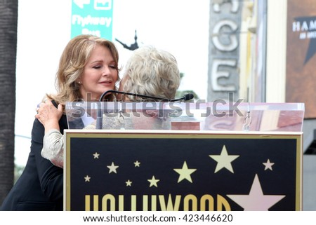 LOS ANGELES - MAY 19:  Deudre Hall, Susan Seaforth Hayes at the Deidre Hall Hollywood Walk of Fame Ceremony at Hollywood Blvd. on May 19, 2016 in Los Angeles, CA - stock photo