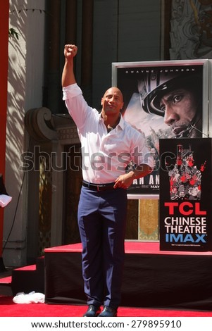 LOS ANGELES - MAY 19:  Dwayne Johnson, The Rock at the Dwayne Johnson Hand and Foot Print Ceremony at the TCL Chinese Theater on May 19, 2015 in Los Angeles, CA - stock photo