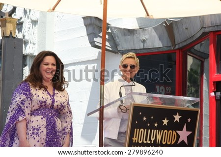 LOS ANGELES - MAY 19:  Ellen DeGeneres, Melissa McCarthy at the Melissa McCarthy Hollywood Walk of Fame Ceremony at the TCL Chinese Theater on May 19, 2015 in Los Angeles, CA - stock photo