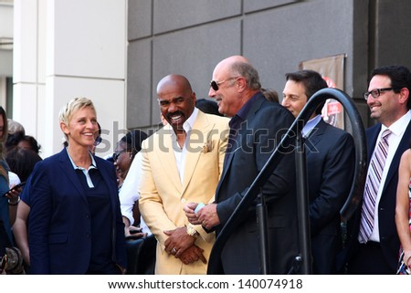 LOS ANGELES - MAY 13:  Ellen DeGeneres, Steve Harvey, Dr. Phil McGraw at the Steve Harvey Hollywood Walk of Fame Star Ceremony at the W Hollywood Hotel  on May 13, 2013 in Los Angeles, CA - stock photo
