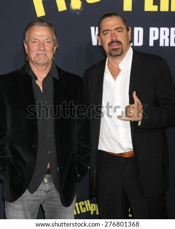 """LOS ANGELES - MAY 9:  Eric Braeden, Christian Gudegast at the """"Pitch Perfect 2"""" World Premiere at the Nokia Theater on May 9, 2015 in Los Angeles, CA - stock photo"""