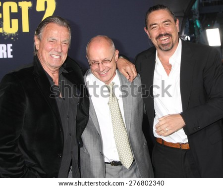 """LOS ANGELES - MAY 9:  Eric Braeden, Paul Brooks, Christian Gudegast at the """"Pitch Perfect 2"""" World Premiere at the Nokia Theater on May 9, 2015 in Los Angeles, CA - stock photo"""