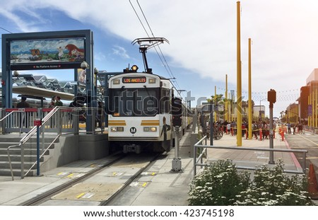 LOS ANGELES - MAY 20, 2016:  First running of LA's train called EXPO LINE in Santa Monica on May 20, 2016 in Los Angeles, California