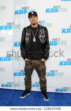 "LOS ANGELES - MAY 12:  J Cole  arrives at the ""Wango Tango"" Concert at The Home Depot Center on May 12, 2012 in Carson, CA - stock photo"
