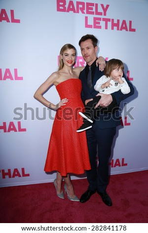 "LOS ANGELES - MAY 27:  Jaime King, Kyle Newman, James Knight Newman at the ""Barely Lethal"" Los Angeles Screening at the ArcLight Hollywood Theaters on May 27, 2015 in Los Angeles, CA - stock photo"