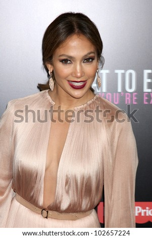 """LOS ANGELES - MAY 14:  Jennifer Lopez arrives at the """"What To Expect When You're Expecting"""" Premiere at Graumans Chinese Theater on May 14, 2012 in Los Angeles, CA - stock photo"""