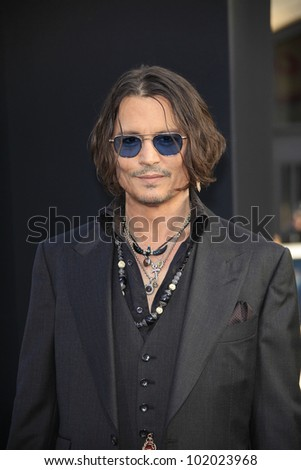 LOS ANGELES - MAY 7: Johnny Depp at the premiere of WB Pictures' 'Dark Shadows' at Grauman's Chinese Theater on May 7, 2012 in Los Angeles, California - stock photo