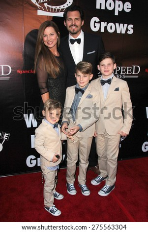 "LOS ANGELES - MAY 3:  Julianne Morris, Kristoffer Polaha, family at the ""Where Hope Grows"" Los Angeles Premiere at the ArcLight Hollywood Theaters on May 3, 2015 in Los Angeles, CA - stock photo"