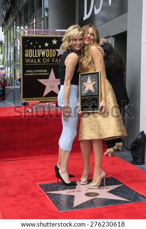 LOS ANGELES - MAY 7:  Julie Bowen, Sofia Vergara at the Sofia Vergara Hollywood Walk of Fame Ceremony at the Hollywood Blvd on May 7, 2015 in Los Angeles, CA - stock photo