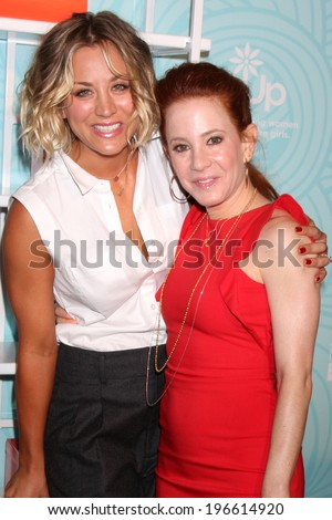 LOS ANGELES - MAY 30:  Kaley Cuoco, Amy Davidson at the Step Up's Inspiration Network Luncheon at Beverly Hilton on May 30, 2014 in Beverly Hills, CA - stock photo
