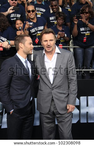 LOS ANGELES - MAY 10: Liam Neeson, Taylor Kitsch at the premiere of Universal Pictures' 'Battleship' at The Nokia Theater L.A. Live on May 10, 2012 in Los Angeles, California - stock photo
