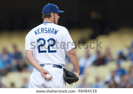LOS ANGELES - MAY 13: Los Angeles Dodgers P Clayton Kershaw #22 during the MLB game between the Arizona Diamondbacks & the Los Angeles Dodgers on May 13 2011 at Dodger Stadium in Los Angeles. - stock photo