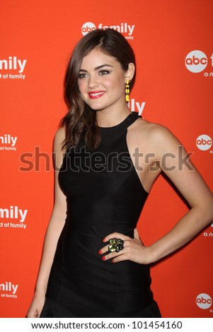 LOS ANGELES - MAY 1:  Lucy Hale arrives at the ABC Family West Coast Upfronts at The Sayers Club on May 1, 2012 in Los Angeles, CA - stock photo