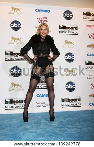 LOS ANGELES -  MAY 19:  Madonna in the press room at the Billboard Music Awards 2013 at the MGM Grand Garden Arena on May 19, 2013 in Las Vegas, NV - stock photo