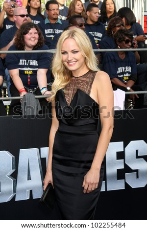 "LOS ANGELES - MAY 10:  Malin Akerman arrives at the ""Battleship"" LA Premiere at Nokia Theater  LA Live on May 10, 2012 in Los Angeles, CA"