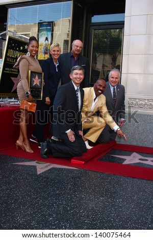 LOS ANGELES - MAY 13 Marjorie Harvey, Ellen DeGeneres, Dr. Phil McGraw; Leron Gubler, Steve Harvey, Tom LeBonge at the Steve Harvey   Walk of Fame   on May 13, 2013 in Los Angeles, CA - stock photo