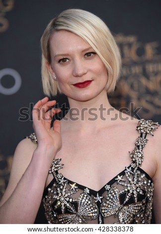 "LOS ANGELES - MAY 23:  Mia Wasikowska arrives to the ""Alice Through The Looking Glass"" American Premiere  on May 23, 2016 in Hollywood, CA.                 - stock photo"
