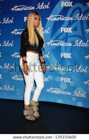 LOS ANGELES - MAY 16:  Nicki Minaj in the American Idol Season 12 Finale Press Room at the Nokia Theater at LA Live on May 16, 2013 in Los Angeles, CA