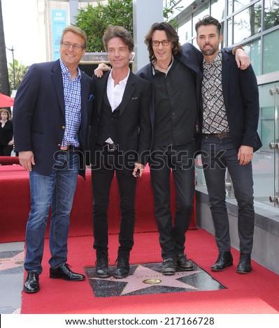 LOS ANGELES - MAY 09:  Rick Springfield, Doug Davidson, Richard Marx & Jason Thompson arrives to the Walk of Fame Honors Rick Springfield  on May 09, 2014 in Hollywood, CA.                 - stock photo
