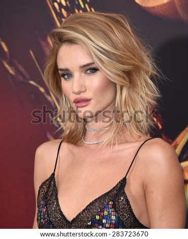 "LOS ANGELES - MAY 07:  Rosie Huntington-Whiteley arrives to the ""Mad Max: Fury Road"" Los Angeles Premiere  on May 7, 2015 in Hollywood, CA                 - stock photo"