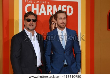 LOS ANGELES - MAY 10:  Russell Crowe, Ryan Gosling at the The Nice Guys Premiere at the TCL Chinese Theater IMAX on May 10, 2016 in Los Angeles, CA - stock photo
