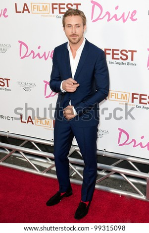 LOS ANGELES - MAY 17: Ryan Gosling arrives at the Los Angeles Film Festival premiere of 'Drive' on May 17, 2011 in Los Angeles, Ca. - stock photo