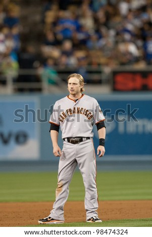 LOS ANGELES - MAY 19: San Francisco Giants 2B Mike Fontenot #14 during the MLB game on May 19 2011 at Dodger Stadium in Los Angeles.