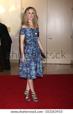 LOS ANGELES - MAY 22:  Sarah Paulson arrives at the 37th Annual Gracie Awards Gala at Beverly Hilton Hotel on May 22, 2012 in Beverly Hllls, CA - stock photo