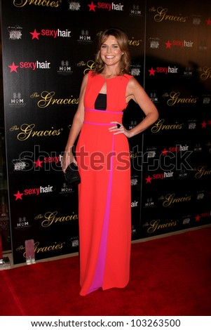 LOS ANGELES - MAY 22:  Savannah Guthrie arrives at the 37th Annual Gracie Awards Gala at Beverly Hilton Hotel on May 22, 2012 in Beverly Hllls, CA - stock photo