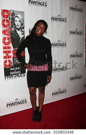 """LOS ANGELES - MAY 16:  Sufe Bradshaw arrives at the Opening Night of the Play """"Chicago"""" at Pantages Theatre on May 16, 2012 in Los Angeles, CA - stock photo"""