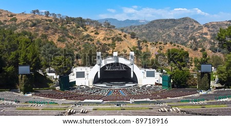 LOS ANGELES - MAY 18: The Hollywood bowl amphitheater on May 18, 2009 in Hollywood, Los Angeles, CA. It's the largest natural amphitheater in the United States, with  seating capacity of nearly 18,000 - stock photo